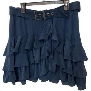 Mexx Blue Silk Ruffle Flare Belted Skirt Sz US M